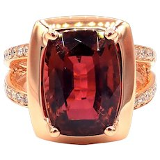 Rare 9.61CT Padparadscha Pink Tourmaline and Diamond Ring in 14 KT Rose Gold