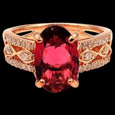Pink Tourmaline Diamond Ring in 14KT Rose Gold