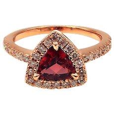 Rubellite Pink Tourmaline Diamond Ring in 14KT Rose Gold