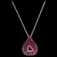 Ruby Diamond Heart Necklace 14KT Rose Gold