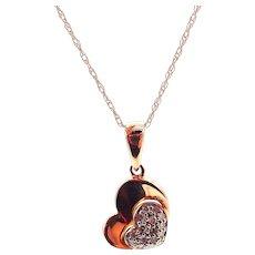Diamond Heart Necklace 14KT Rose Gold