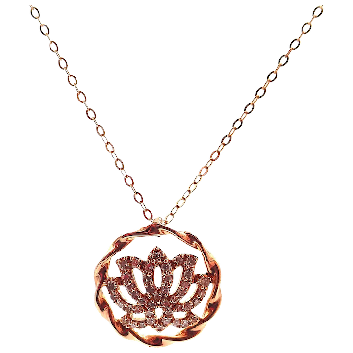 Diamond Lotus Flower Necklace 14kt Rose Gold Samantha Cham Nyc