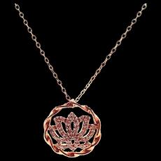 Diamond Lotus Flower Necklace 14KT Rose Gold