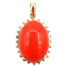 Natural Italian Red Coral Cabochon 14KT Yellow Gold Pendant