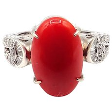 Natural Italian Red Coral Diamond Ring in 18KT White Gold