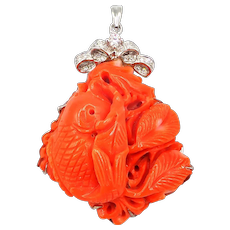 Natural Italian Red Coral Hand Carved Goldfish 18KT White Gold Pendant