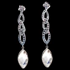 White, Chocolate and Black Diamond and White Topaz Earrings 14KT White Gold Earrings