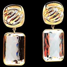 100 CT White Topaz Omega back Earrings 14KT Yellow Gold