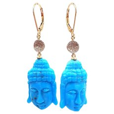 30CT Carved Natural Sleeping Beauty Turquoise Buddha and Diamond Earrings in 14KT Yellow Gold