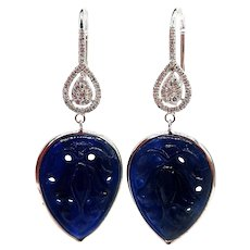 40CT Natural Hand-Carved Blue Sapphire and Diamonds Earrings 14KT White Gold