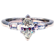 Natural Marquise Diamond Engagement Ring or Wedding Band in 14KT White Gold