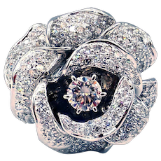 3.65CT Diamond Rose Flower Cocktail Engagement Ring in 18KT White Gold