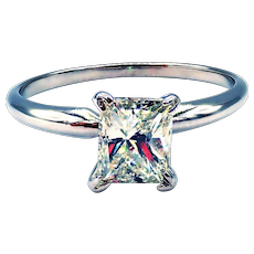 Radiant cut Diamond Engagement Ring or Wedding Band in 14KT White Gold