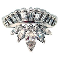 2 CT Art Deco Natural Baguette and Marquise Cut Diamond Cocktail Engagement Ring in Platinum