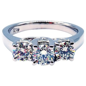 3 Stone Diamond Engagement Wedding Ring in 14KT White Gold