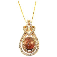 Fancy Rosecut Diamond Necklace 14KT Yellow Gold