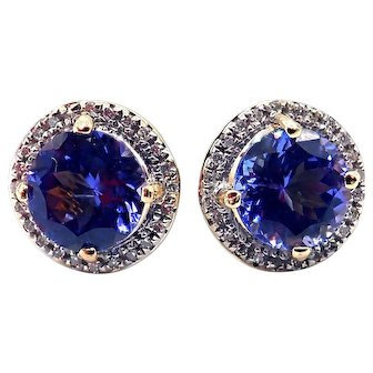 2.5CT Natural Tanzanite and Diamonds Earrings in 14KT Yellow Gold