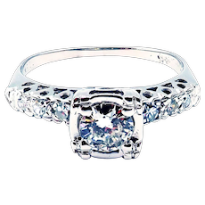 Art Deco European Cut Diamond Engagement Ring or Wedding Band in 14KT White Gold