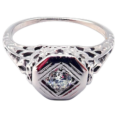 Art Deco European Cut Diamond Engagement Ring or Wedding Band in 18KT White Gold