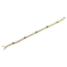 2CT Colombian Emerald and Diamond 14KT Yellow Gold Bracelet