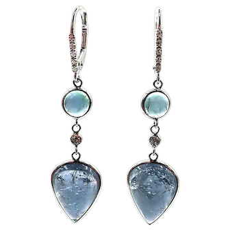 Paraiba Blue Tourmaline and Diamonds Earrings 14KT White Gold
