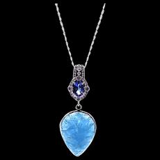 Tanzanite and Aquamarine Diamond Necklace in 14KT White Gold