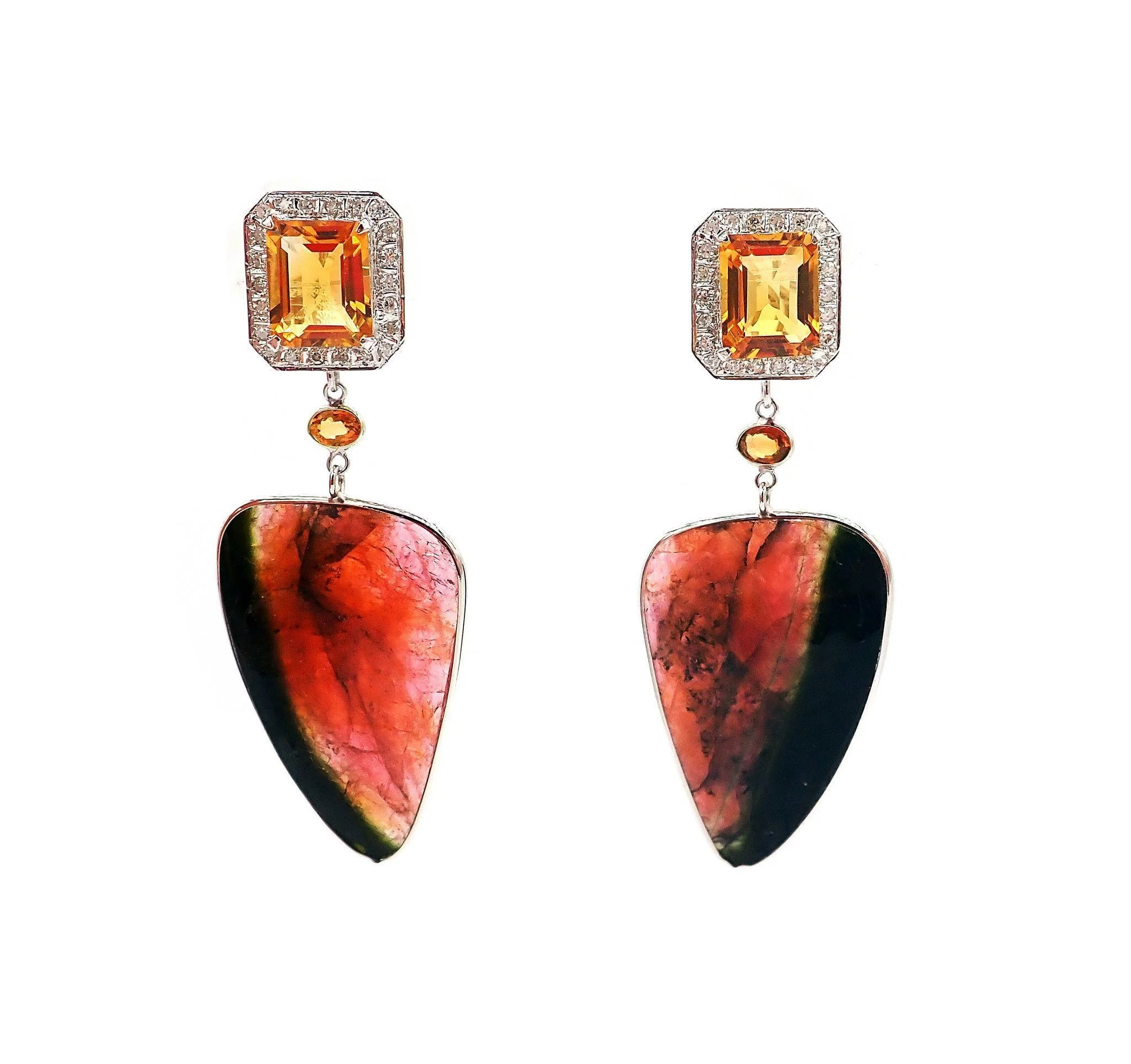 Watermelon Tourmaline Yellow Sapphire Diamonds And Citrine Natural Golden Orange 13ct Click To Expand