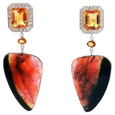 Watermelon Tourmaline, Yellow Sapphire, Diamonds and Citrine Earrings 14KT White Gold