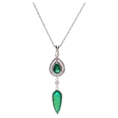 3.21 CT Colombian Emerald and Diamond Necklace in 14KT White Gold