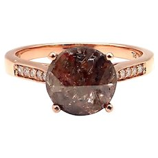 Modern Rose Cut Diamond Engagement Ring in 14KT Rose Gold