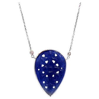 Hand-carved Blue Sapphire and Diamond Necklace 14KT White Gold