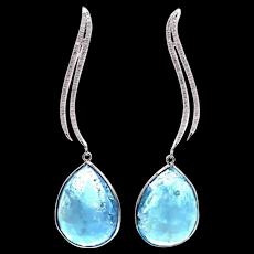 28.8CT  Rosecut Aquamarine and Diamonds Earrings 14KT White Gold