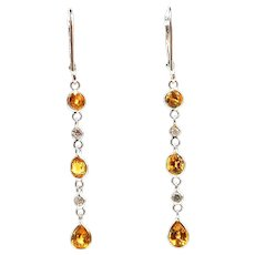 Yellow Sapphire with Diamonds Line Earrings 14KT White Gold