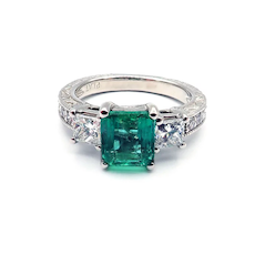 2CT Colombian Emerald and  Diamond Platinum Ring