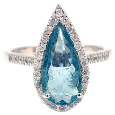 Pear Cut Paraiba Blue Tourmaline and Diamond Ring in 18KT White Gold
