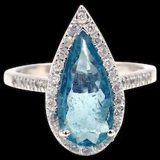 Pear Cut Paraiba Blue Tourmaline and Diamond Ring in 18KT White Gold