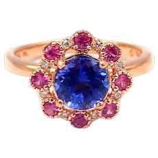 1.14 CT Natural Tanzanite, Pink Tourmaline and Diamond Ring in 14KT Rose gold
