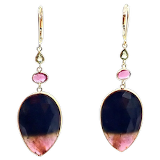 23.33CT Natural Rose Cut Watermelon Tourmaline and Spinel Earrings 18KT Yellow Gold