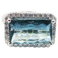 Rare Paraiba Blue Tourmaline and Diamond Ring in 18KT White Gold