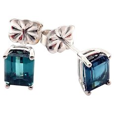 2CT Rare Natural Paraiba Blue Tourmaline Stud Earrings 14KT White Gold