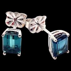 2CT Rare Natural Paraiba Blue Tourmaline Stud Earrings 14KT White Gold