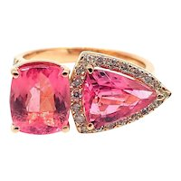 Bubble Gum Pink Tourmaline Diamond Ring in 18KT Rose Gold