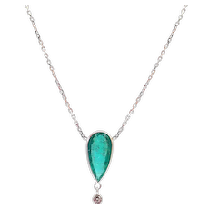 2.5 CT Modern Colombian Emerald and Diamond Necklace in 14KT White Gold