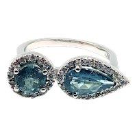 Rare Paraiba Blue Tourmaline and Diamond Ring in 18KT White Gold
