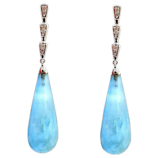 Moss Aquamarine and Diamonds Earrings 14KT White Gold
