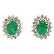 Natural Colombian Emerald with Diamonds Earrings 14KT Gold