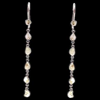 Unique 3CT Organic Slice Diamond Earrings 18KT White Gold