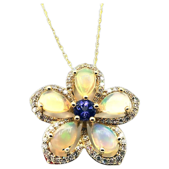 Ethiopian Opal and Tanzanite Flower Halo Diamond Necklace 10KT Gold
