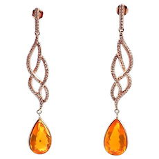 Handmade Rare Natural 7.77CT Mexican Fire Opal Diamond 14KT Rose Gold