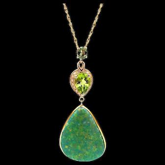 Australian Opal, Green Sapphire, Peridot and Diamond Necklace in 14KT Yellow Gold